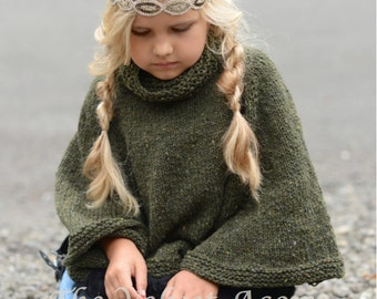Knitting Pattern - Grove Cape (2, 3/4, 5/7, 8/10, 11/13, 14/16, S/M, L/XL sizes)