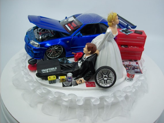 AUTO Mechanic Bride And Groom Nissan Skyline GTR R34 Blue CAR