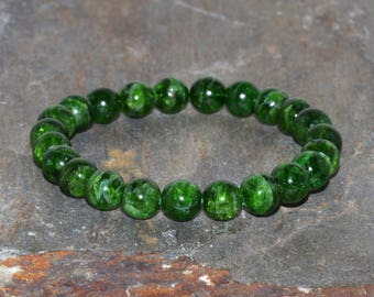 Diopside Bracelet Grade AA 8mm Natural Green Chrome Diopside Green Bracelet Gemstone Bracelet Diopside Jewelry Peace Bracelet Earth Stone