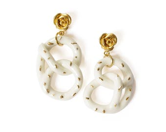 Golden Rose And Salted Pretzel Earrings SKU: E_009 porcelain jewellery; wedding and bridal jewellery; everyday jewellery