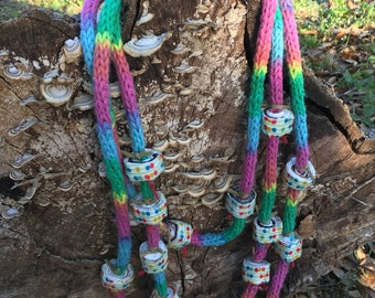 Quirky spool knitted cotton necklace with fabric covered glossy paper beads  colorful necklace handmade one of a kind quirky jewelry