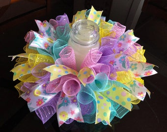 "17"" Spring/Easter Colorful Deco Mesh Flower Centerpiece/Candle Holder - Multicolor Pastels"