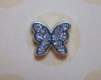 Silver and Crystal Butterfly Charm for Memory Locket
