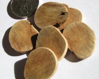 Wooden Button Bases or Craft Discs, Hand Made from Locally Grown Cherry Plum Tree - 28mm Lightly Sanded (pack of 6)