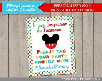 PERSONALIZED Mouse Clubhouse Facebook and Instagram Sign / Includes Your Hashtag / Mouse Clubhouse Collection / Item #1695