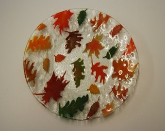 Fused art glass plate with unique fall leaves design