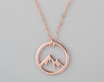 Rose Gold Mountain Necklace, Circle Mountain Range Jewelry, Rose Gold Mountain Charm Necklace
