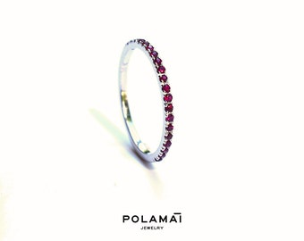 Ruby Eternity Ring 18k . Full 3/4 Half Eternity . Ruby Wedding Band . Red Ruby Ring . Yellow White Rose Gold . Polamai