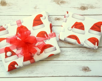 Santa Hats Christmas Wrapping Paper, Holiday Gift Wrap 10 ft x 2 ft. / 3.048 m. x .60 m. Roll,