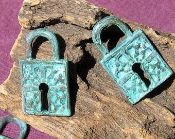 lock pendant charm, VERDIGRIS patina 2 pcs