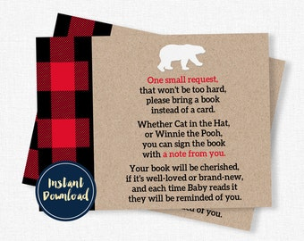 Lumberjack Baby Shower Book Request, Baby Shower Book Inserts, Buffalo Plaid Book Request Cards, Book Instead of a Card INSTANT DOWNLOAD
