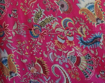 fabric, cotton fuchsia and multicolored, large PAISLEY collection.