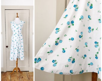 Summer Picnic 1950s White and Blue Cherry Novelty Print Cotton Dress