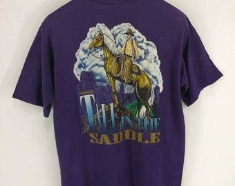 Sale Vintage 90s Wrangler Saddle Cowboy T Shirt