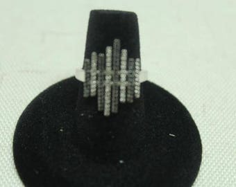 Sterling Silver Black and White Pave Diamond Ring Marked PDC 925 Size 6
