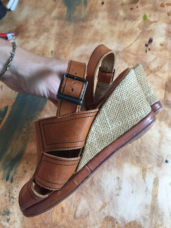 Platform Mules BOHO Leather Wedge Hippie 7 Slingback Sandals Wedges Size Size 6 Espadrilles Platforms Shoes Heel 70s Brown Sandals qRYwTzvA