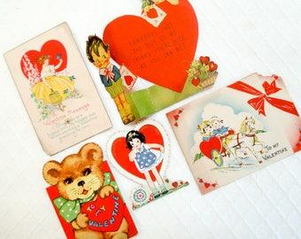 Reserved - Set of 5 antique valentines