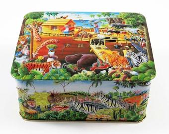 "Churchill's Embossed 3-D ""The Ark"" RECTANGLE Tin  5.5"" x 4.5"" x 2.5"" / Made in England w Zebras-Elephants-Giraffes-Tigers-Lions-Monkeys etc."