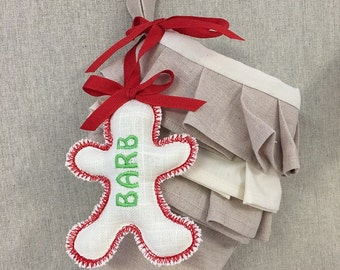Personalized Christmas Stocking Tag Name Embroidered Label Gingerbread Girl Ornament Gift Wedding Favor