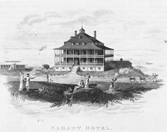 Nahant Hotel 1822- Print of a Vintage Engraving, Ready to Frame!