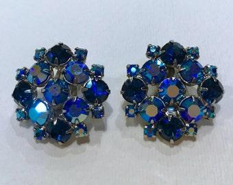 Blue Rhinestone Earrings, Vintage Cluster Rhinestone Clip On Earrings, Aurora Borealis Rhinestones