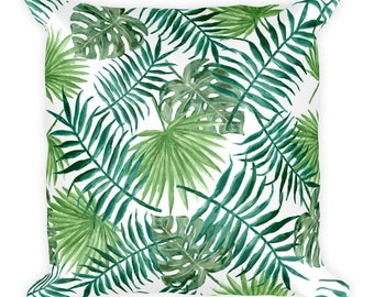 Green Leaves - Square Pillow
