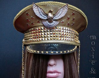 """Custom Military Captain's Hat: """"Golden Eagle"""" ~ perfect for Burning Man!  - Made to Order"""