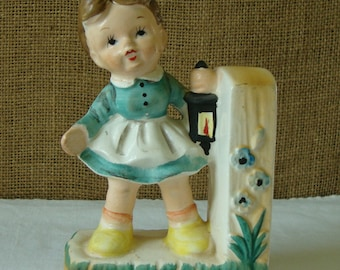 MID CENTURY  Hand Painted Ceramic Little Girl Figurine