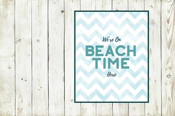 Beach Time, Summer Print, Blue Chevron, Art Print, Waves Print, Ocean Themed Wall Decor, Summer Vacation, Beach House Poster, Digital Print