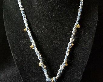 Blue and Gold Elephant Hemp Macrame Necklace