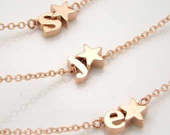 Rose gold Initial and star bracelet- Silver rose gold or gold plated initial bracelet, bridesmaid gift, star jewelry, monogram bracelet
