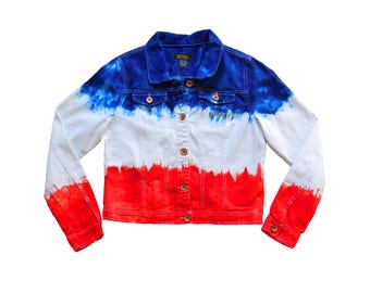 Red + Blue/Navy Tie Dye Jacket