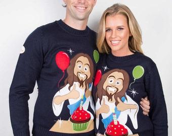 Christmas Sweater - The Happy Birthday Jesus Ugly Christmas Sweater - The ultimate Ugly Christmas Sweater & Christmas Jumper