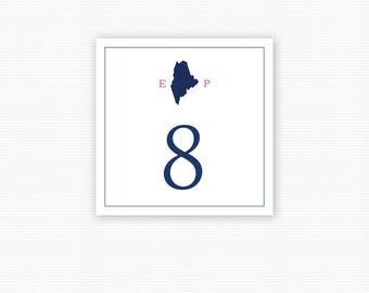 Maine Wedding Table Number, Rehearsal Dinner, State of Maine, Wedding Table Number Cards, Reception Numbers, Printed Table Numbers