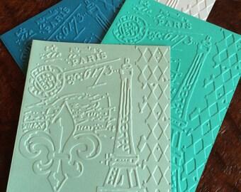 Springtime in Paris Stationary/10 cards/Handmade Embossed Notecard/Vintage Paris Eiffel tower Cards/Blank Fleur-de-Lis Cards