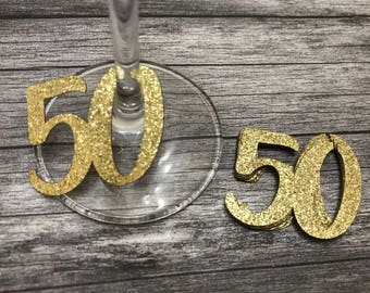 50th Glass Charms or tags x 12 Silver or Gold - fiftieth Birthday party, Decorations