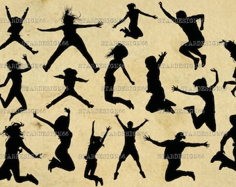 Digital SVG PNG JPG Jumping People, men, women, kids, silhouette, vector, clipart, instant download
