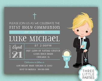 First Holy Communion Invitation, Boy, Printable, Invitación Primera Comunión,  First Holy Communion Invitation, Baptism, Confirmation
