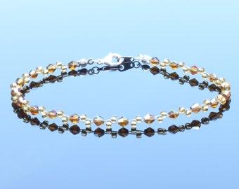 Swarovski Crystal Gold Topaz and Topaz Seedbead Bracelet