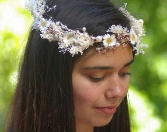 Daisy flower Boho crown, wedding headpiece flower, bridal hair flower, rustic wedding, bridal headband head garland