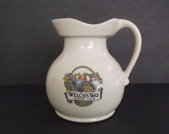 Welch's Way - Since 1869 Vintage Ceramic Pitcher, circa 1960's-1970's