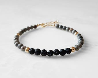 Gray Stone Lava Essential Oil Diffuser Bracelet -Lava & Luxe Collection - aromatherapy diffusing jewelry,therapeutic essential scent gift