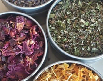 Create your own herbal tea blend, Organic Loose Herbal Tea, Choose your own 4 or 6 HERBS, taste something new everyday