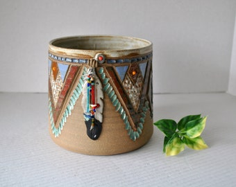 Vintage Stoneware Southwestern Style Clay Planter, Western Feather Beaded Design Turquoise Earthen Pottery, Signed by Artist