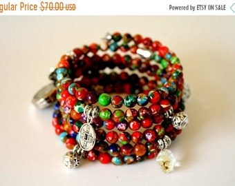 Sale 20% Rabais Sea sediment bracelet, beads bracelet, yoga bracelet, bracelet stack, multicolor bracelet, made in Quebec, made in Canada