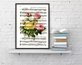 Roses bouquet over music sheet, Wall art print, Home decor art print, Vintage roses bouquet BFL044MS