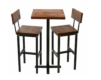 Wood and Steel Pub Table and Barstools - Rustic - Industrial