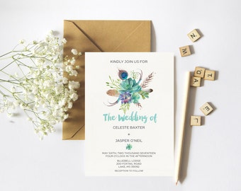 Bohemian Wedding Invitation Set // Rustic Wedding Invitation // Floral Invitation Set //   Full suite or separate purchase