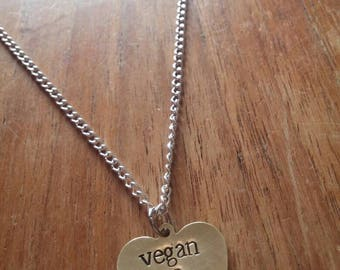 Vegan as f*ck/af ~ Dainty Brass Gold Heart Shaped Pendant Necklace ~ Animal Rights, Activism ~ Handmade Hand Stamped Jewellery Jewelry Gift
