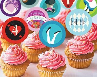 "Alice in Wonderland Un-Birthday 2"" Cupcake Toppers | Printable Digital Cupcake Toppers | Wonderland Party Treat Decorations Tags"